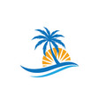 palm tree summer logo template vector image vector image