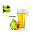 papaya juice fresh hand drawn watercolor fruits vector image vector image