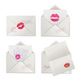 paper love letters with lipstick kisses vector image vector image
