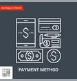 payment method line icon vector image vector image