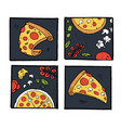 pizza icons posters images set vector image vector image