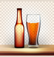 realistic bottle and glass with bubble beer vector image