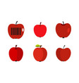 red apple icon set flat style vector image