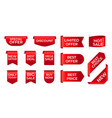 red ribbon labels shopping exclusive stickers and vector image