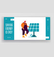 renewable green energy website landing page man vector image