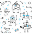 seamless pattern with cute robots and robotics vector image