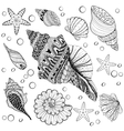 set Shells zentangle seeshell for adult vector image vector image