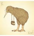 Sketch fancy kiwi bird in vintage style vector image vector image