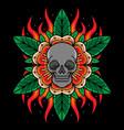 skull head flower tattoo vector image vector image
