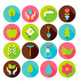 Spring Gardening Circle Icons Set with long Shadow vector image vector image