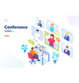 video conference internet video call isometric vector image