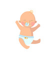 sweet baby boy in diaper with pacifier cartoon vector image