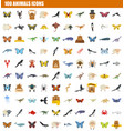 100 animals icon set flat style vector image
