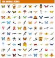 100 animals icon set flat style vector image