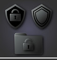 a folder with a lock and two shields on a gray vector image