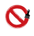 art hand-painted prohibition sign ban symbol vector image