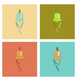 assembly flat icons bell pencil ruler vector image vector image