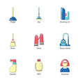 campsite icons set flat style vector image vector image