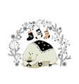 cartoon polar bear with christmas wreath and socks vector image vector image