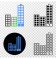composition of gradiented dotted city buildings vector image vector image