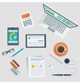 Concept of workplace with office devices and items vector image vector image