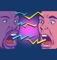 conflict lightnings two people are angry vector image