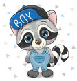 cute cartoon raccoon in cap on a white background vector image vector image