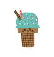 cute delicious ice cream cartoon character vector image vector image