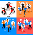 dance isometric people concept vector image vector image