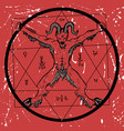 devil with pentagram on red textured background vector image vector image