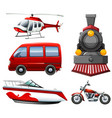 different types of transportation in red vector image vector image
