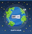 earth hour with switch turn off on cartoon vector image