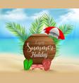 enjoy summer holiday on circle wood background vector image vector image