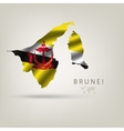 Flag of BRUNEI as a country with a shadow vector image vector image