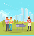 friends on bbq flat vector image vector image
