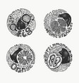 fruits in round set 1 bw vector image