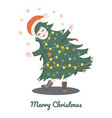 girl in carnival costume christmas tree vector image vector image