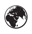 globe earth icon black and white vector image