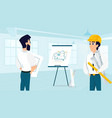 group of architect examining room design plan vector image vector image