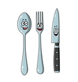 Happy laughing cartoon cutlery set vector image