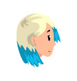 head of girl with dyed hair profile of young vector image