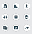 holiday icons set with namaz hajj muslim and vector image vector image