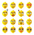 lemon emoji emoticon expression funny cute food vector image