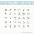 line icons collection of human brain process vector image