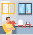 man with before and after home under construction vector image