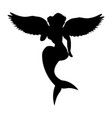mermaid siren silhouette ancient mythology fantasy vector image vector image