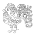 original black and white line art rooster drawing vector image