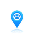 paw and location mark icon pet shop sign vector image