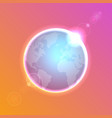 planet earth on colorful defocused lights bokeh vector image