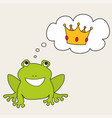 prince or princess frog dreaming about crown vector image vector image